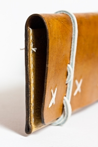 Leather Tobacco Pouch: White Wizard (detail)