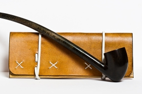 Leather Tobacco Pouch: White Wizard (with pipe)