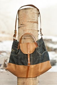 Leather and Denim Bag