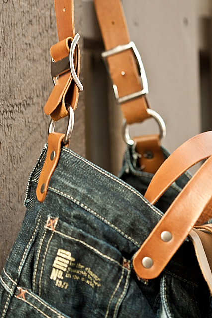Leather and Denim Bag detail