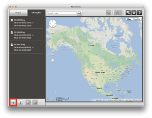 Map Utility window and log import button