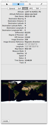 Preview.app GPS Info Pane illustrating the plethora of geotag data added by the Canon GP-E2